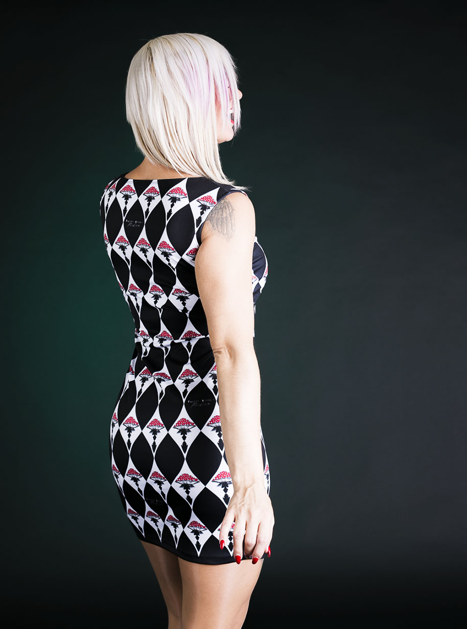 Classic Sleeveless Midi Rhombus Mushrooms Dress | Limited Edition Black, Red and White Dress