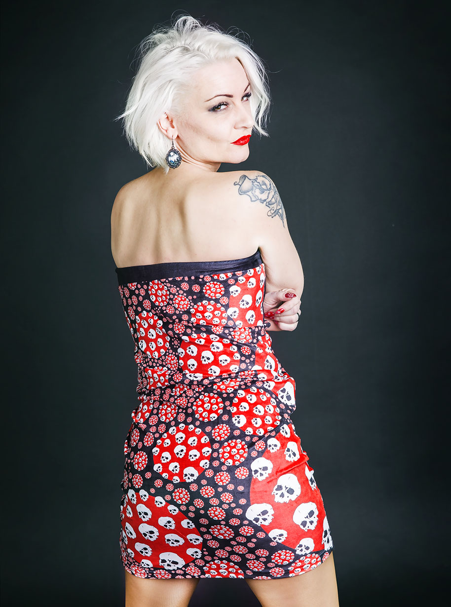 Velvet Circles Skulls Skirt | Limited Edition Red, Black and White Skirt