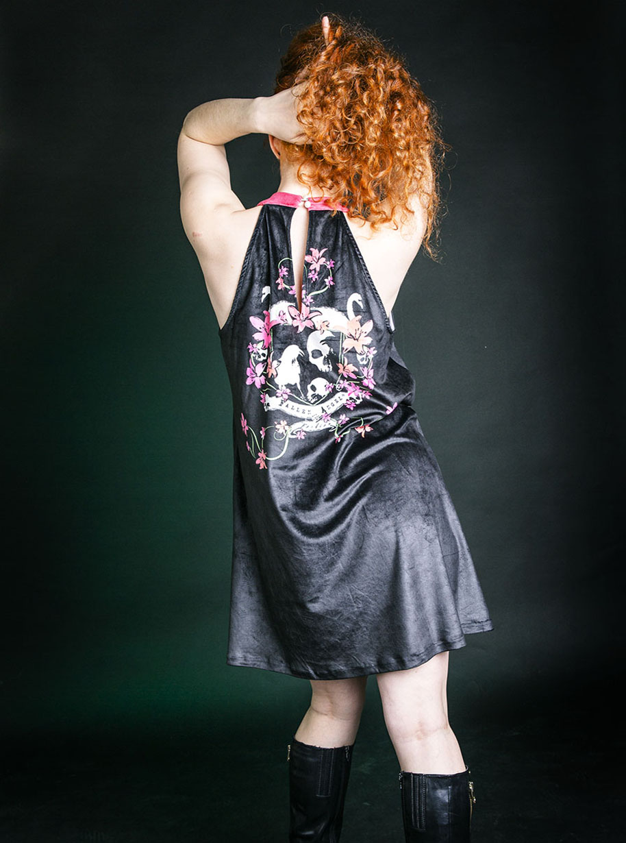 Velvet Halter Swans Skulls Dress | Limited Edition Black, Red, Purple, Green and White Dress