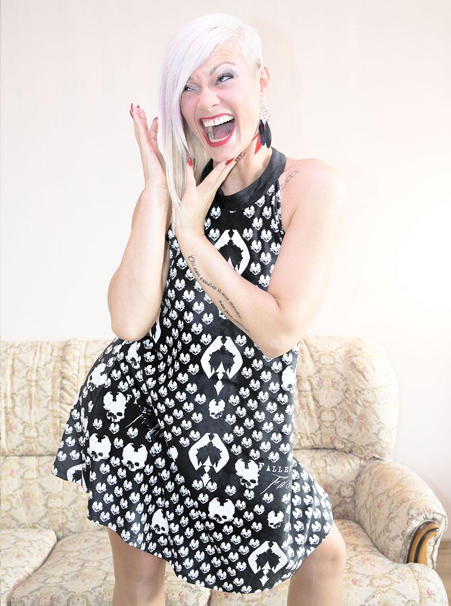 Velvet Halter Ornament Rhombus Skulls Dress | Limited Edition Black and White Dress