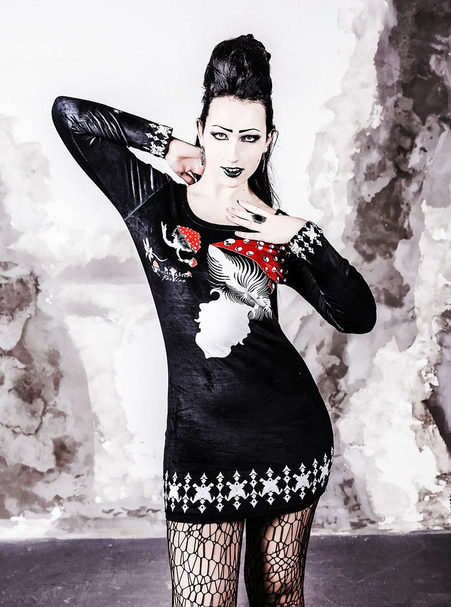 Velvet Long Sleeve Bodycon Mushrooms Dress   Limited Edition Black, Red and White Dress