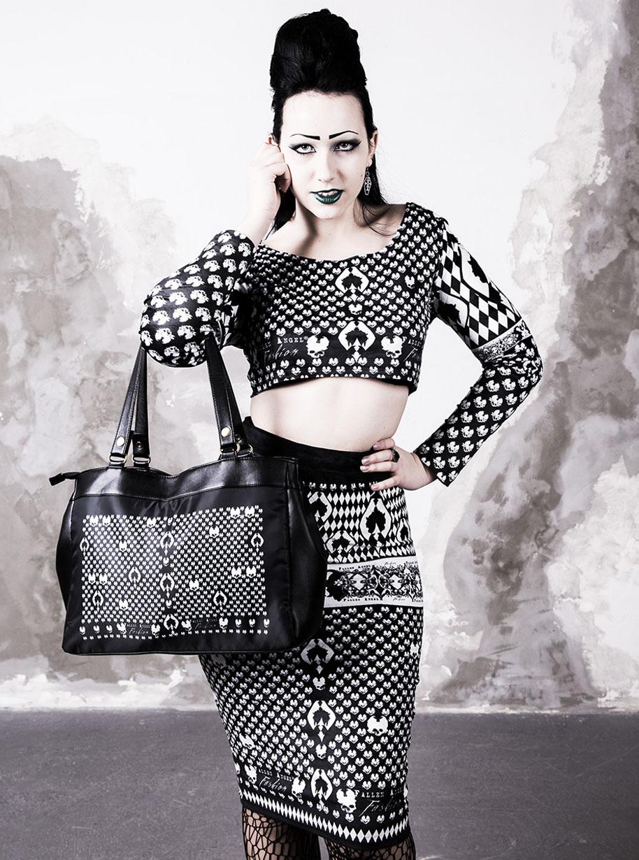 Velvet Ornament Rhombus Skulls Skirt   Limited Edition Black and White Skirt