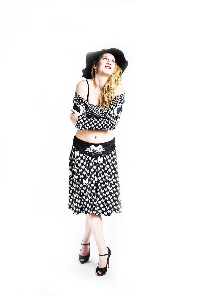 Velvet Skull Flared Midi Skirt   Limited Edition Black and White Skirt