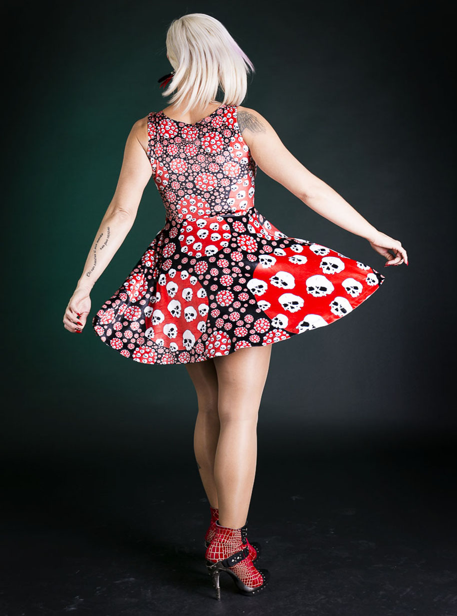 Velvet Sleeveless Midi Circles Skulls Dress | Limited Edition Red, Black and White Dress