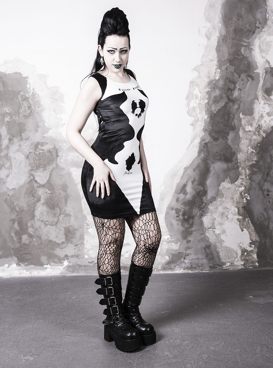 Classic Sleeveless Midi Devil Dress   Limited Edition Black and White Dress