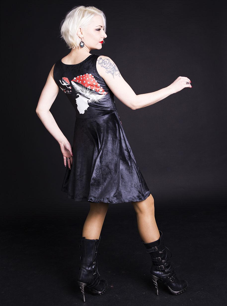 Velvet Sleeveless Midi Mushrooms Dress   Limited Edition Black, Red and White Dress