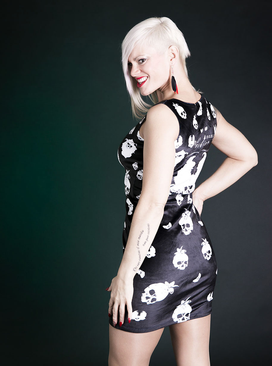 Velvet Sleeveless Midi Skulls Dress | Limited Edition Black and White Dress