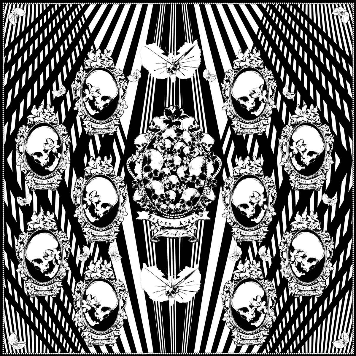 Black-White-Stripes-with-Skulls-Silk-Scarf-Fallen-Angel-Fashion